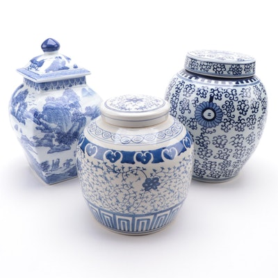 Chinese Blue and White Ceramic Ginger Jars, Contemporary