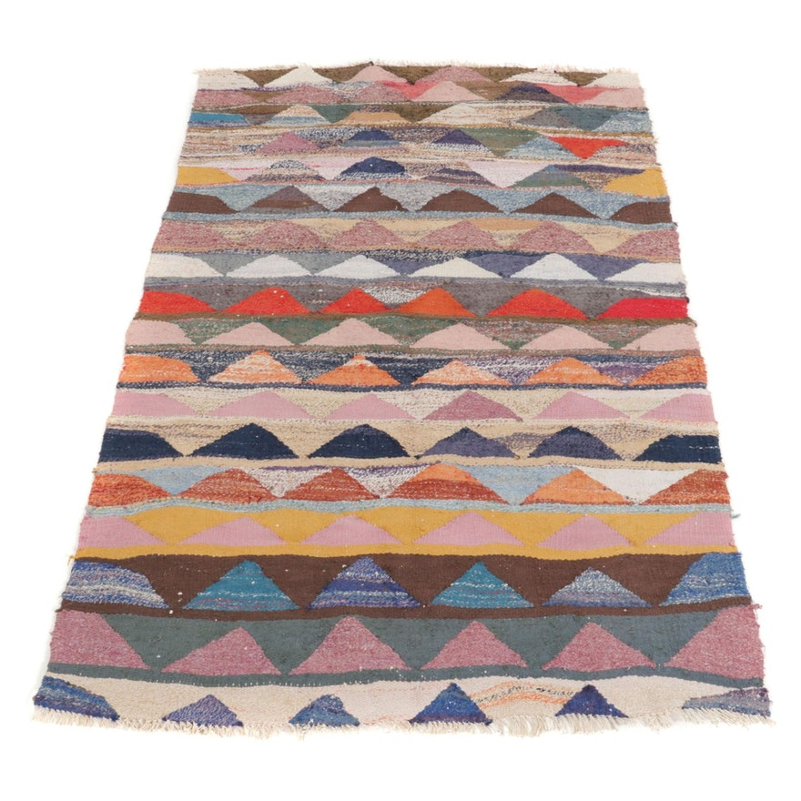 4'4 x 7'8 Handwoven Persian Wool Kilim Area Rug