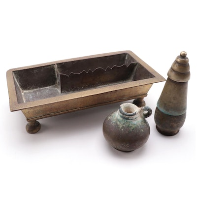 Southeast Asian Brass Paan Dan Betel Tray and Lime Pots
