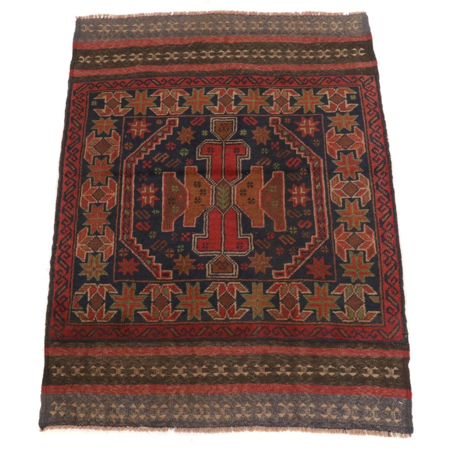 2'11 x 4'0 Hand-Knotted Afghan Baluch Tribal Accent Rug