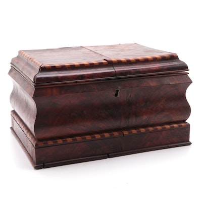 German Flame Mahogany Sewing Box with Barber Pole Inlay, 1871