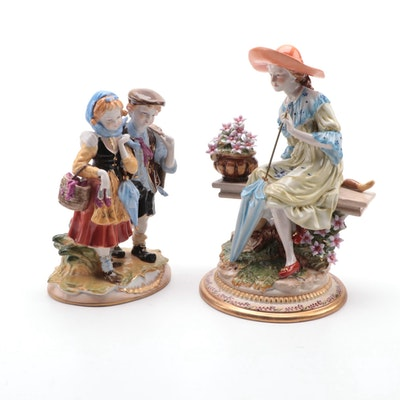 Dresden Style Porcelain Figurines, Mid-20th Century