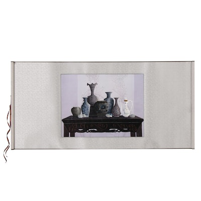 Yiling Chinese Hand-Embroidered Still Life on Hand Scroll