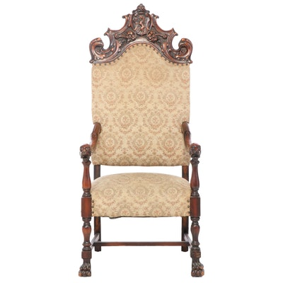 American Renaissance Revival Mahogany Armchair, Late 19th/Early 20th Century