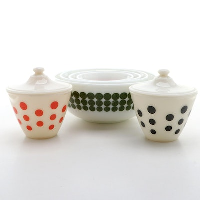 "Pyrex ""New Dot"" Mixing Bowls with Anchor Hocking Fire King ""Dot"" Drip Jars"