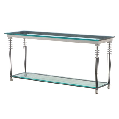 Contemporary Glass and Metal Tiered Console Table