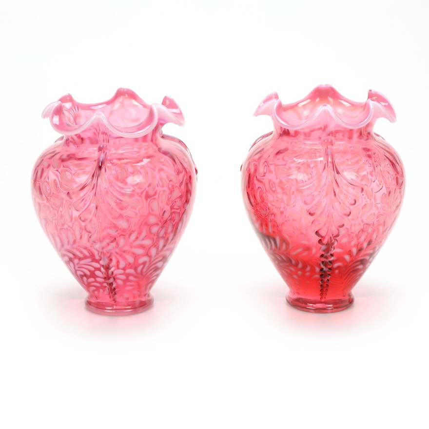 """Fenton """"Daisy and Fern"""" Cranberry Opalescent Glass Vases"""