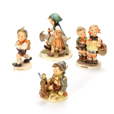"Goebel ""School Boy"" and Other Porcelain Hummel Figurines, Mid-20th Century"