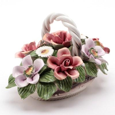 Capodimonte Porcelain Floral Basket, Mid-20th Century