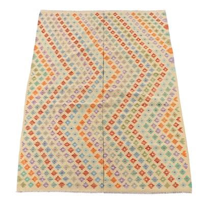 5'10 x 8'4 Handwoven Afghan Kilim Wool Area Rug