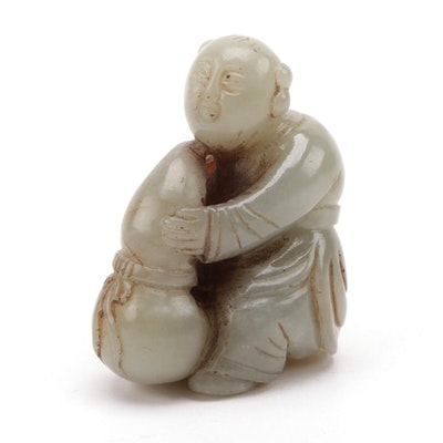 Chinese Carved Nephrite Man Holding a Wine Gourd Figurine