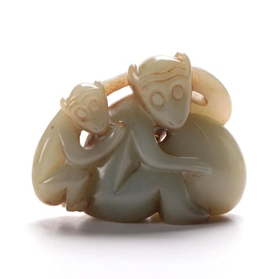 Chinese Nephrite Figure of Monkeys