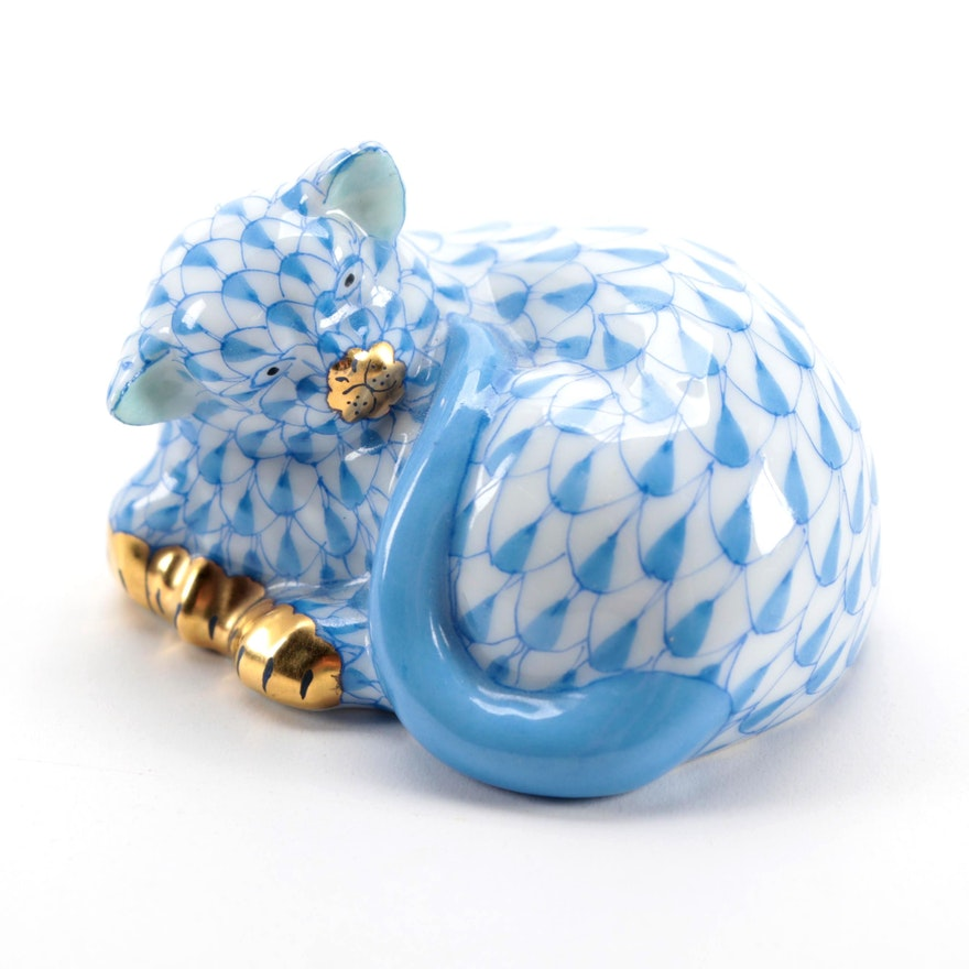 "Herend Blue Fishnet with Gold ""Sleeping Cat"" Porcelain Figurine"