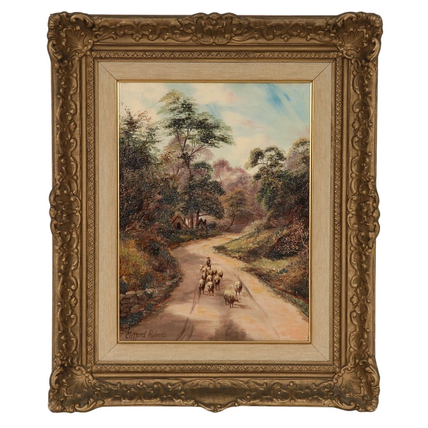 Clifford Roberts Oil Painting of Country Road Scene with Sheep, 20th Century