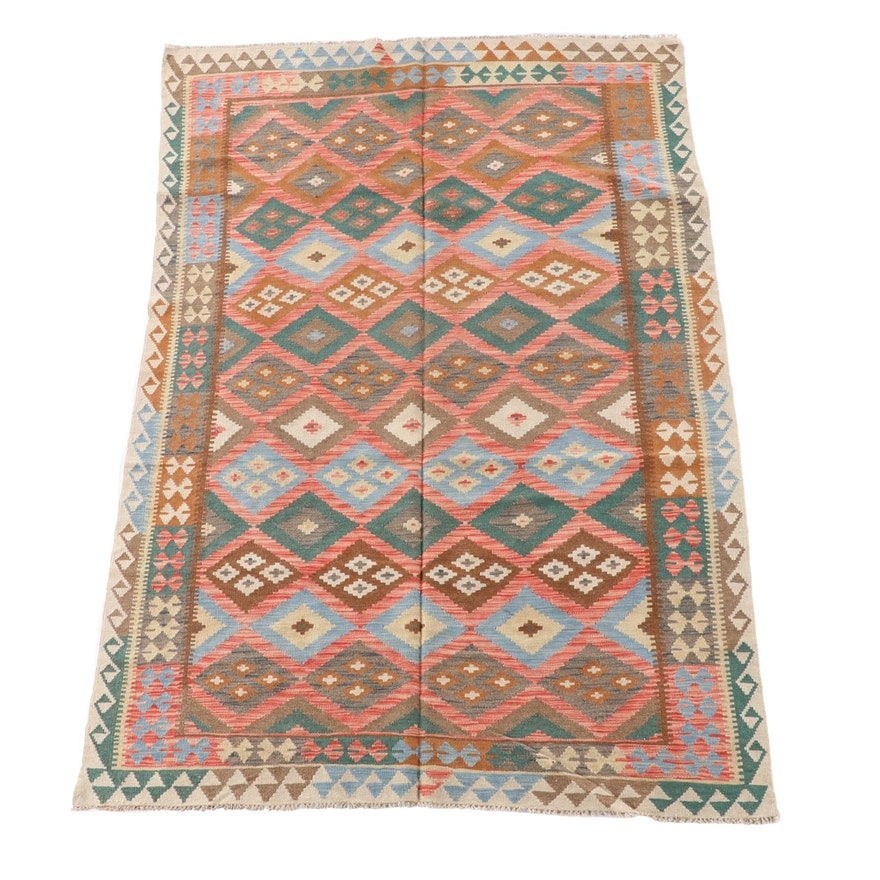 5'8 x 8'5 Handwoven Afghan Wool Kilim Area Rug