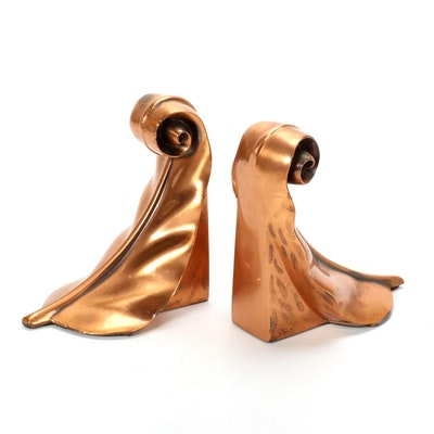 Casted, Plated, and Lacquered Copper Feather Bookends