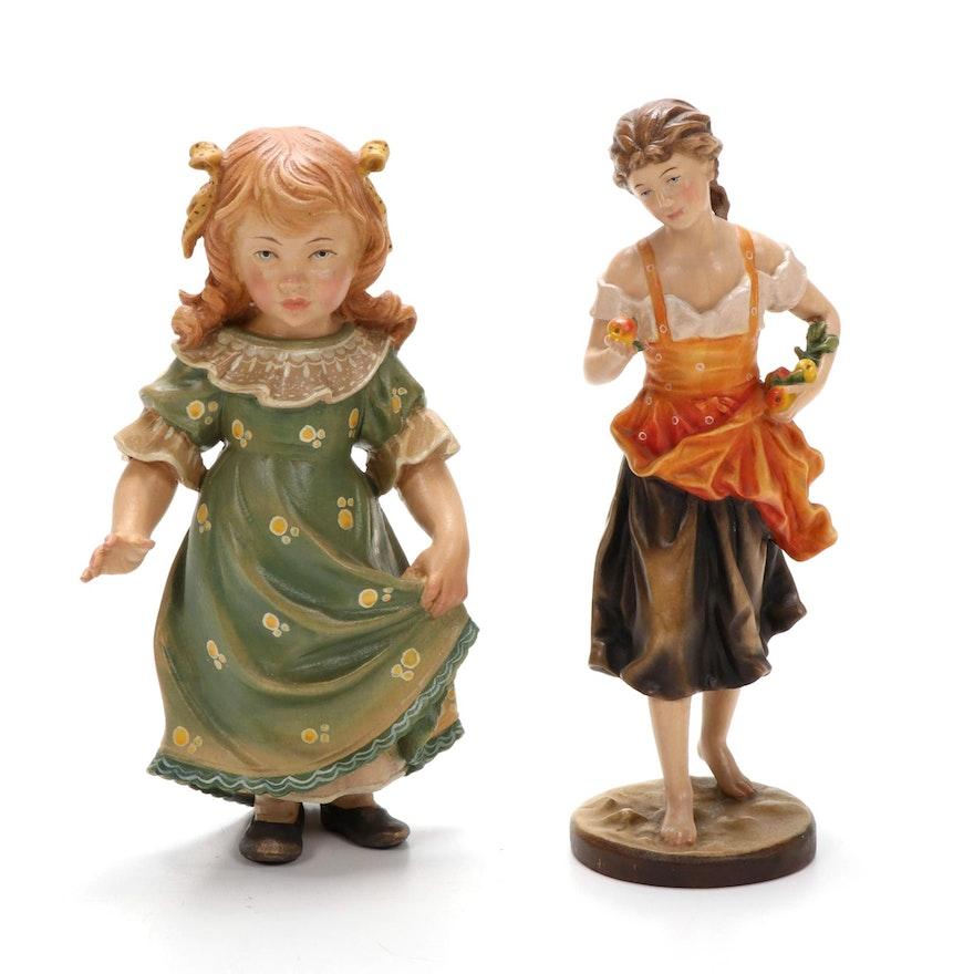 Italian Dolfi Hand Carved Wooden Figurines, Late 20th Century