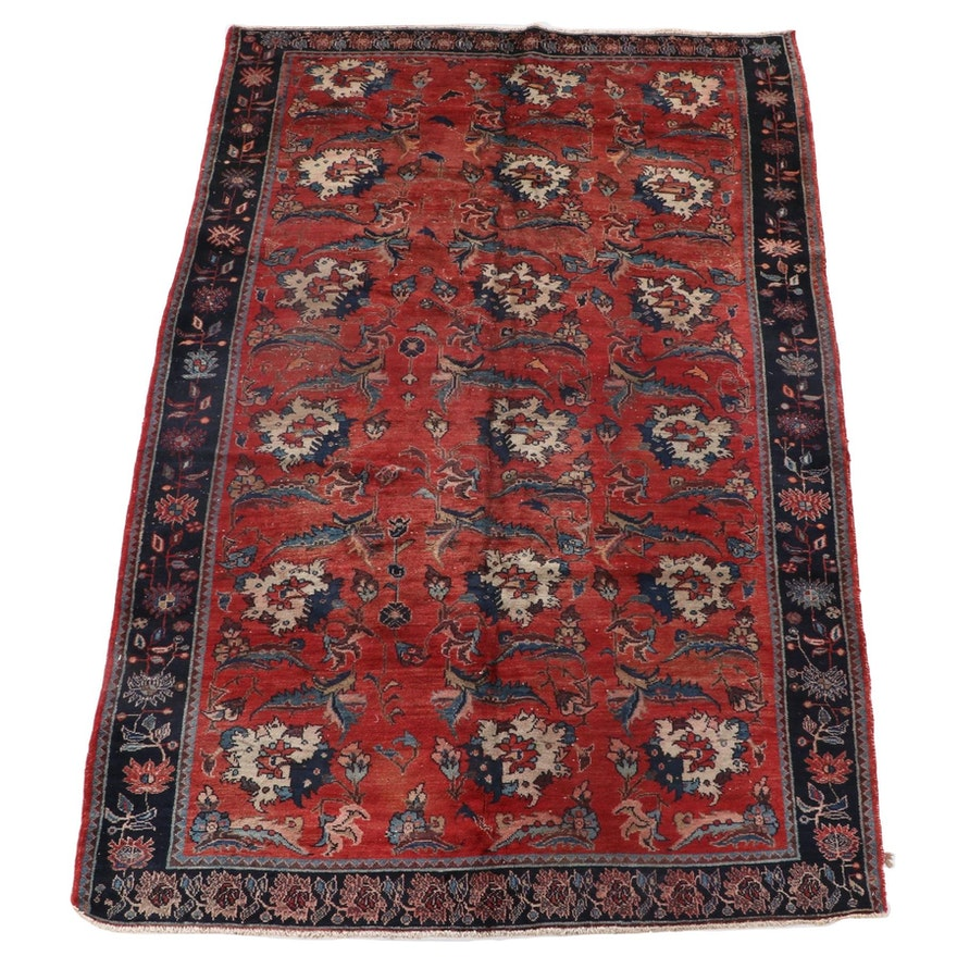 6'2 x 10'5 Hand-Knotted Persian Arak Wool Area Rug