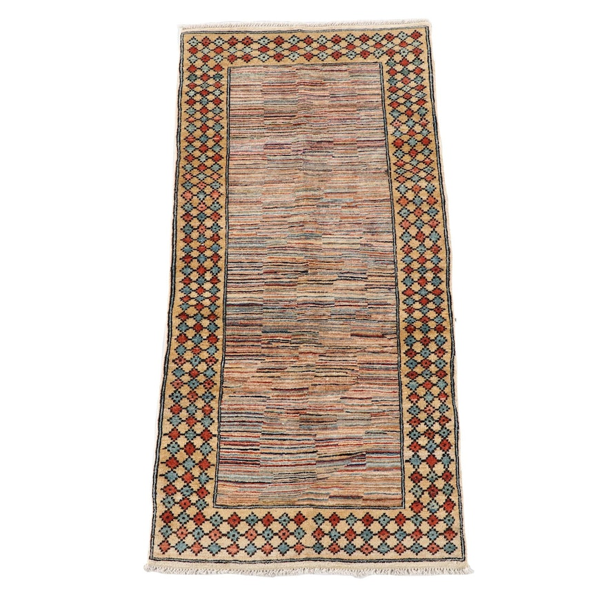 3'0 x 6'7 Hand-Knotted Persian Gabbeh Wool Rug