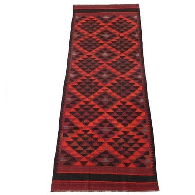 4'4 x 12'4 Handwoven Persian Kilim Wool Long Rug