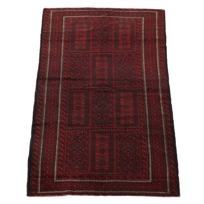 4'2 x 6'9 Hand-Knotted Afghan Baluch Wool Area Rug