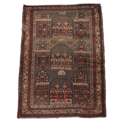 2'11 x 4'4 Hand-Knotted Persian Baluch Wool Prayer Rug