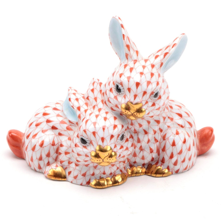"Herend Rust Fishnet with Gold ""Pair of Bunnies"" Porcelain Figurine"