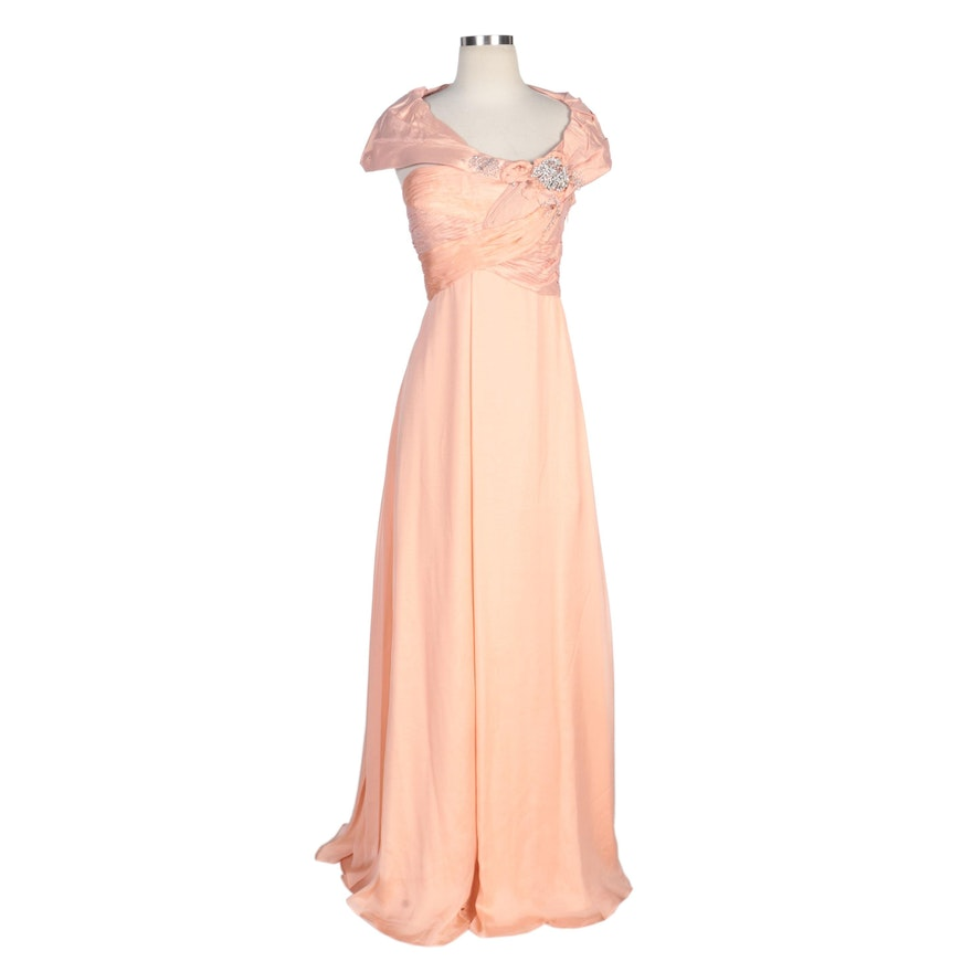 Alberto Makali Coral Silk Capelet Collar Gown with Embellished Bodice and Wrap