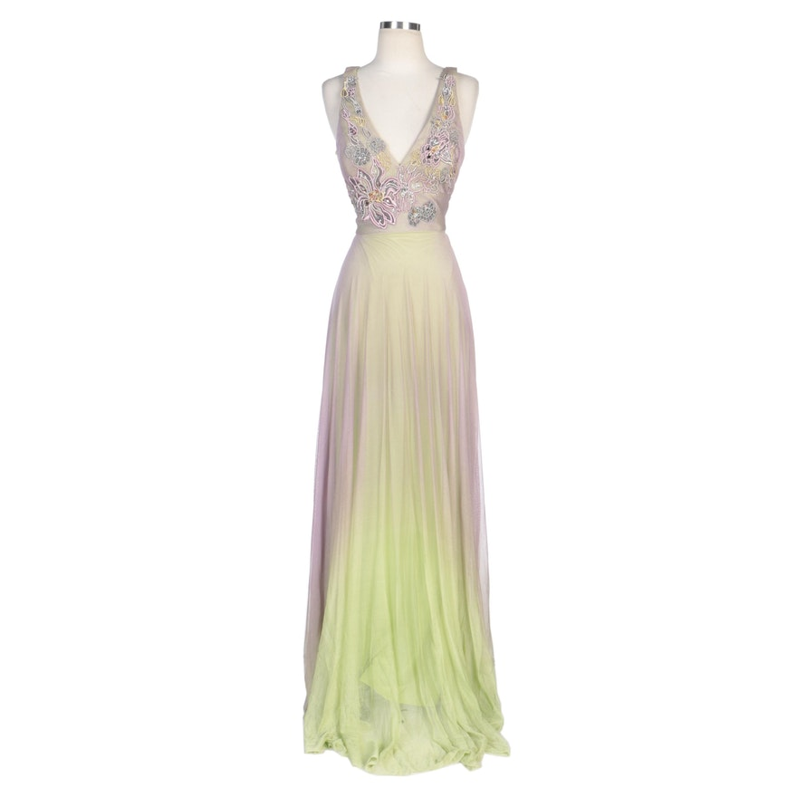 Alberto Makali Lilac and Citron Ombré Embellished Silk Evening Dress with Wrap