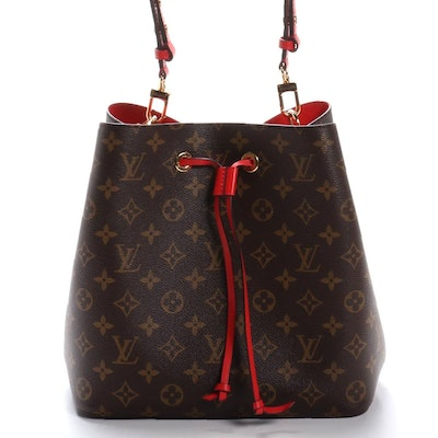 Louis Vuitton NeoNoé Buket Bag in Monogram Canvas and Red Leather