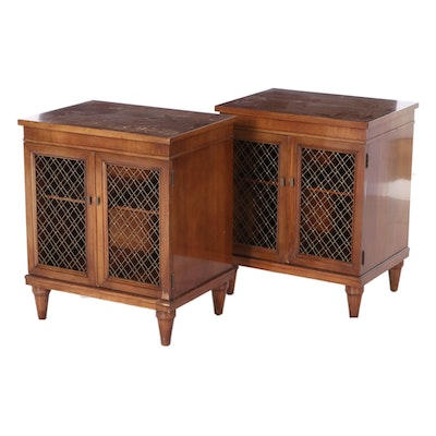 Pair of Directoire Style Walnut Nightstands with Metal Lattice Doors