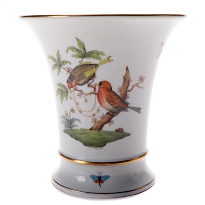 "Herend ""Rothschild Bird"" Hand-Painted Porcelain Vase"