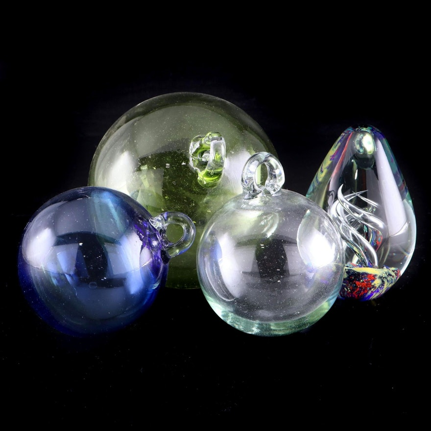 Handblown Glass Ball Ornaments and Art Glass Paperweight