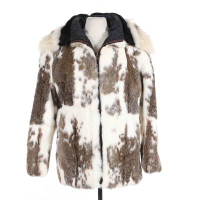 Rex Rabbit Fur Parka with Sheared Beaver and Badger Fur Trimmed Hood