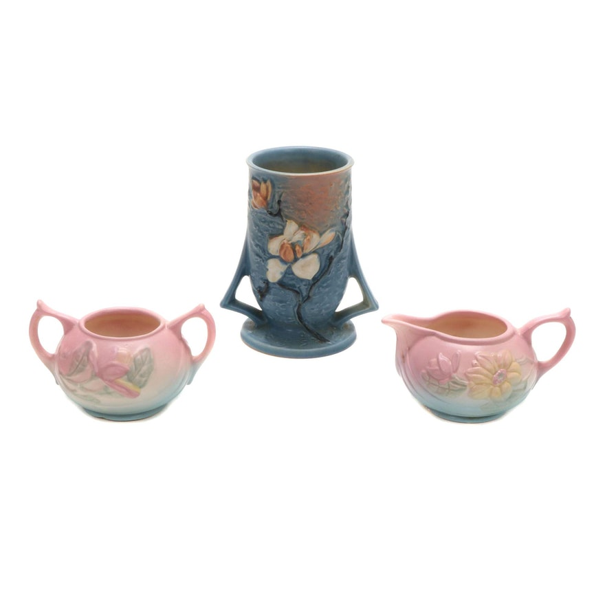 "Roseville Pottery ""Magnolia"" Vase and Hull ""Magnolia"" Creamer and Sugar"