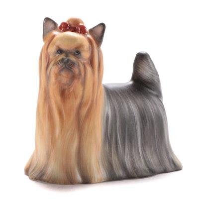 """Herend Natural """"Yorkshire Terrier"""" Porcelain Figurine"""