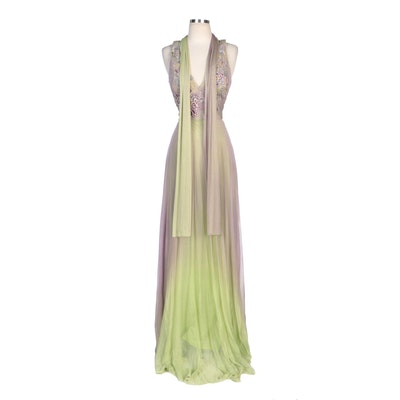 Alberto Makali Lilac and Citron Ombré Embellished Silk Evening Dress with Sash