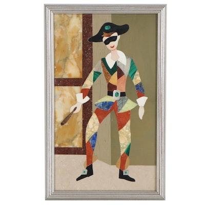 Mauro Bini Figural Pietra Dura Plaque, Mid-20th Century