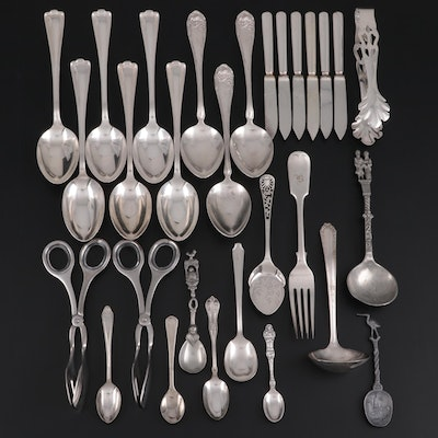 Atkins Brothers Silver Plate Engraved Jelly Server and Other Utensils