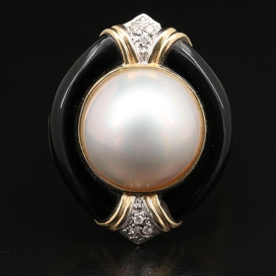 14K Mabé Pearl, Diamond and Black Onyx Ring