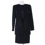 Chanel Boutique Black Bouclé Wool Skirt Suit with Black Silk Blouse