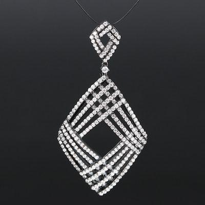 Sterling Silver Cubic Zirconia Geometric Pendant