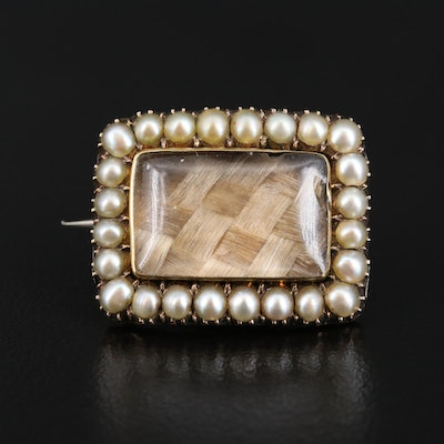 Victorian Seed Pearl, Glass and Hair Mourning Brooch