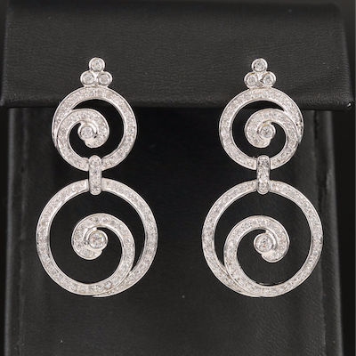 Sterling Cubic Zirconia Double Swirl Drop Earrings