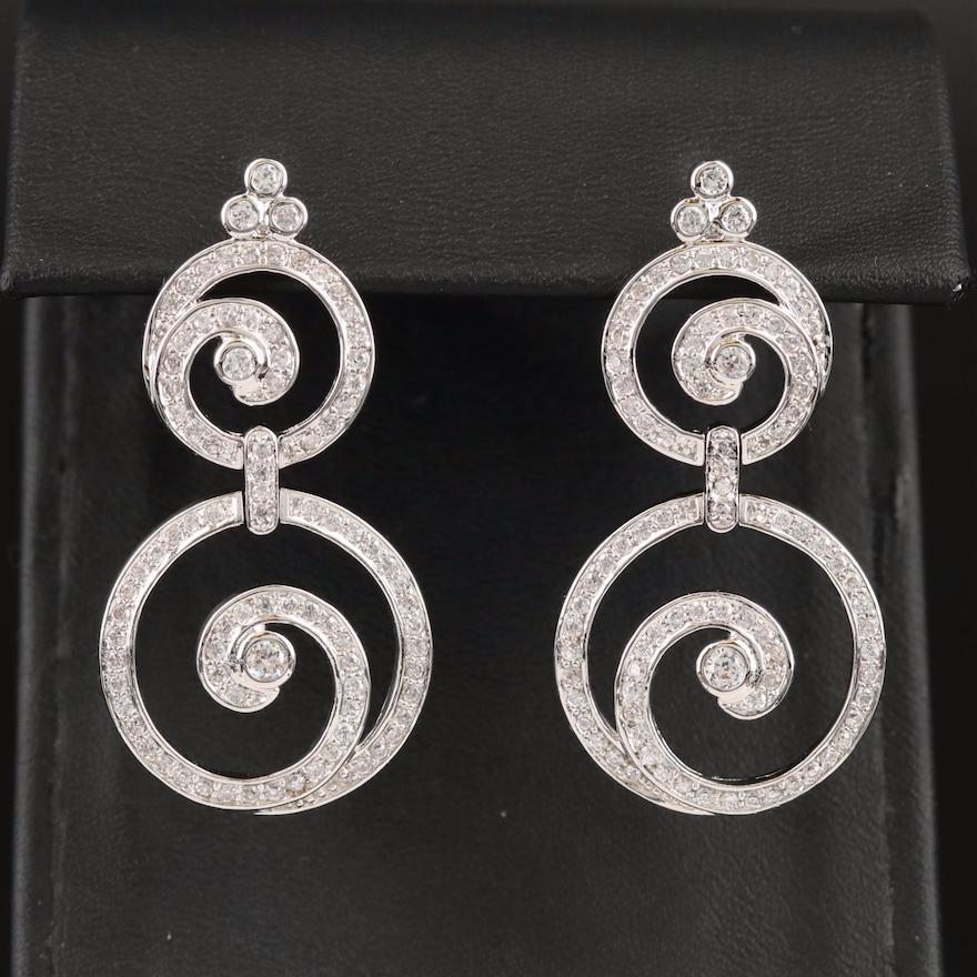 Sterling Cubic Zirconia Double Swirl Drop Earrings