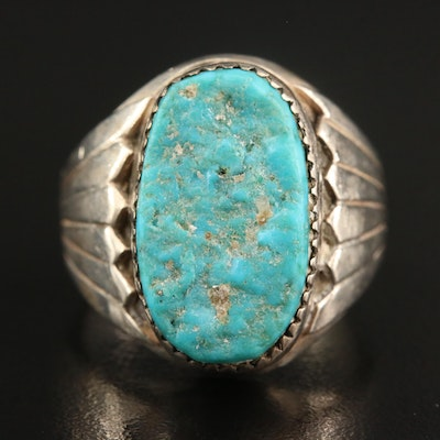 Western Sterling Silver Turquoise Ring