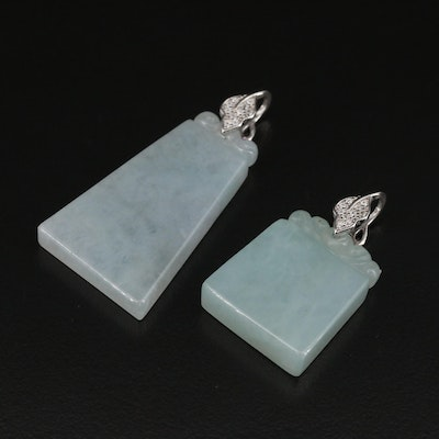 Sterling Silver Jadeite and Cubic Zirconia Geometric Pendants