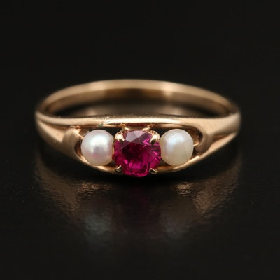 10K Ruby and Pearl Three Stone Ring