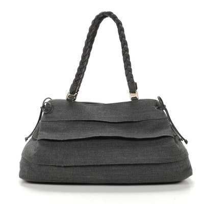 Salvatore Ferragamo Wool Tote with Black Leather Trim and Braided Straps