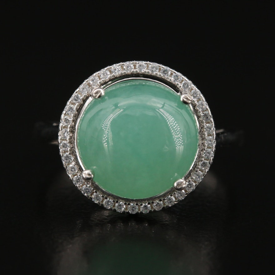 Sterling Jadeite and Cubic Zirconia Ring